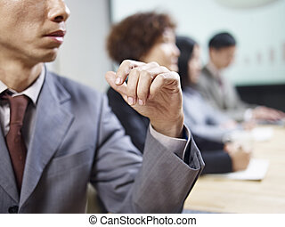 business people negotiating - business people in meeting...