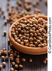 Coriander. - Coriander seeds in a bowl close-up.