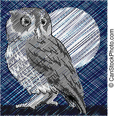 Owl alerted to movement Vector illustration
