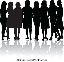 group of women - black silhouettes - group of womens - black...