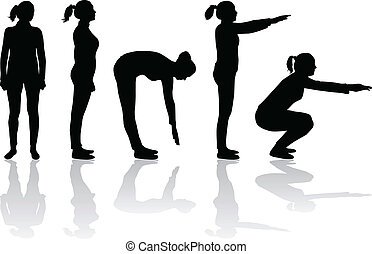 silhouettes of women - sport