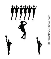 chorus line dancers - men and women from stage musicals in...