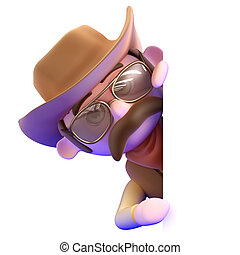 3d Cowboy peeps round the corner - 3d render of a cowboy...