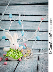 Easter bunny - Colorful Easter eggs. Holiday nature concept...