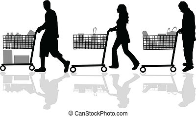 Silhouettes of people out shopping