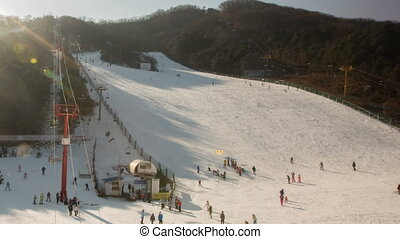 Seoul Ski Resorts 1 - 1) Time lapse of people skiing in...