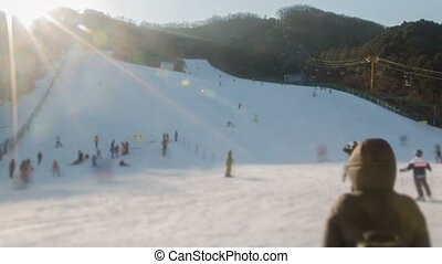Seoul Ski Resorts 3 - 3) Time lapse of people skiing in...