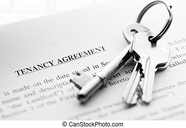 keys on document - set of new keys on a tenancy agreement