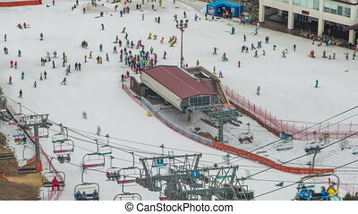 Seoul Ski Resorts 6 - 6) Time lapse of people skiing in...