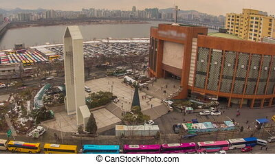 Seoul City Yoido Full Gospel Ch - Zooming time lapse of...