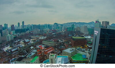 Seoul City City Lights and Traffic - Zooming time lapse of...
