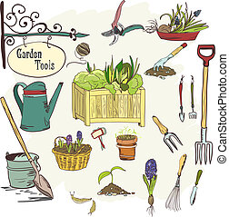 Sef of gardening tools - Hand drawn sef of gardening tools...