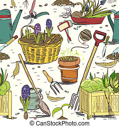 Seamless gardening tools pattern background - Hand drawn...