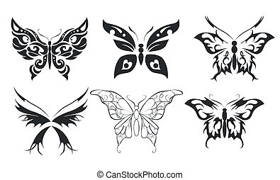 Print set of six stylize butterfly - Set of six stencils...