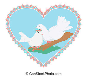 Couple of sweety white doves