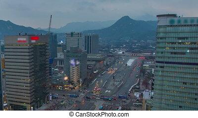 Seoul City Gwanghwamun Traffic - Zooming time lapse of...