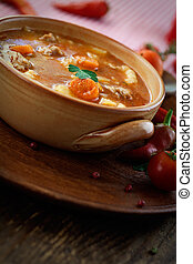 Veal stew - Delicious veal stew soup with meat and...