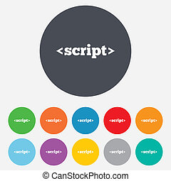 Script sign icon. Javascript code symbol. Round colourful 11...