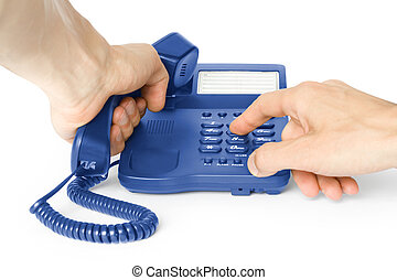 dialing. phone with hands