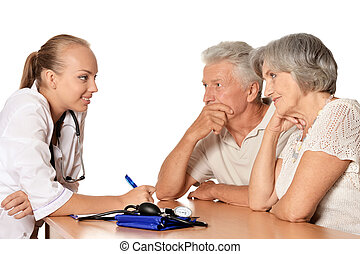 Patients visiting doctor - Elderly patients couple came to...