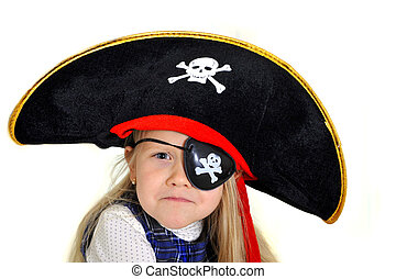 Cute little blonde girl in pirate hat and eyepatch playing -...
