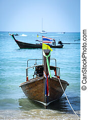 Thai Long tailed boat in Thailand beach