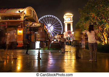 ferris wheel at night - Ferris wheel at night in Bangkok,...