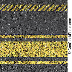 Background with asphalt texture - Background with warning...