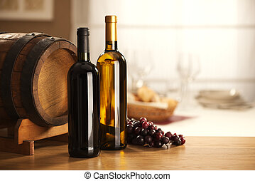 Wine selection with barrel and grapes - Selection of red and...