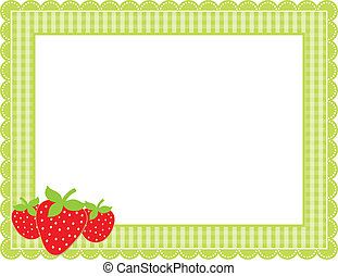 Strawberry Gingham Frame - Gingham patterned frame with...