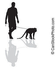 Man with a monkey on a leash