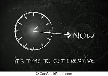 the time to get creative is now - concept of not wasting...