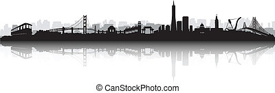 San Francisco Skyline Silhouette vector - Black and White...