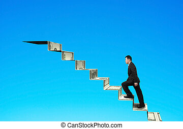 Climbing to top of money stairs blue sky background