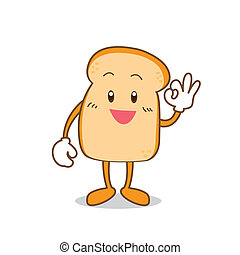 Slice of bread cartoon - Isolated Slice of bread cartoon