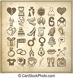 36 hand drawing doodle icon set, wedding sketchy...