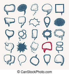 25 sketch different speech bubble collection