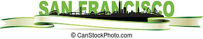 San Francisco Skyline green banner