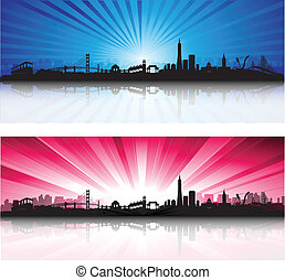 San Francisco Skyline with colorful Sky - San Francisco City...