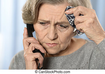 Elderly woman with ill throat - Sick Aged woman calling her...