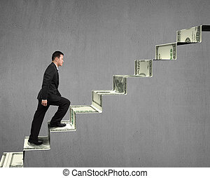 Climbing on money stairs