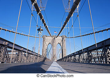 Brooklyn Bridge detail New York Cit - NEW YORK CITY -...