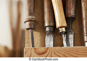 Carpenter tools - Set of carpenter tools on a wooden rack