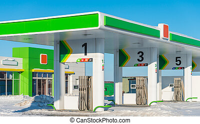 gas station - new petrol filling station in the winter...