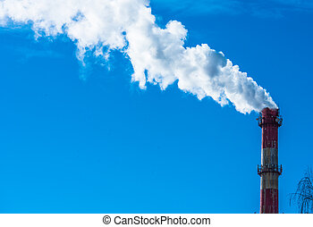 chimney-stalk - Factory pipe produces smoke in the sky