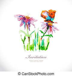 Watercolor flowers for your design.