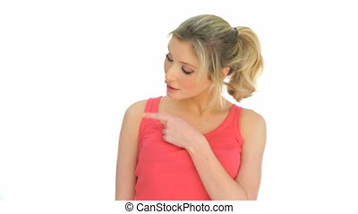 blonde woman pointing on white copy space