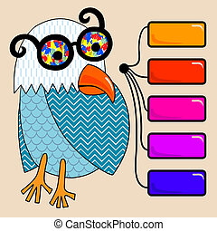 doodle vintage cartoon comic funny bird with colored glasses...