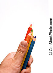 color pensils - Hand holding color pensils over white