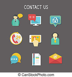 Contact Us Icons - Contact us using phone call email website...